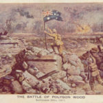 Victory. Lt AVL Hull of the 18th Battalion AIF, plants the Australian flag on a German Pillbox as Australian forces overrun Anzac Redoubt, on the Menin Road, during the famous battle of Polygon Wood (Belgium) in WW1. This dramatic incident took place at 7:15 AM on September 20th 1917. Lt Hull was killed in action three weeks later. This picture was used as a Christmas and New Year's Greetings card in 1917-18.